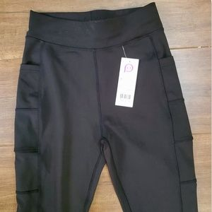 New PopFit Plain All Black Athletic Leggings Sz M